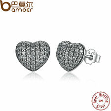 Bamoer Solid  S925 Sterling Silver In My Heart Stud Earrings With CZ For Women