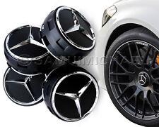 4 x AMG Mercedes Benz Tapones De Centro De Rueda De Aleación Negro nuevo diseño levantado Estilo