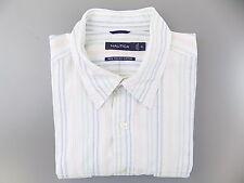 NAUTICA $75 White XL x Short Sleeve Regular FIT CASUAL MEN DRESS SHIRT SALE O10