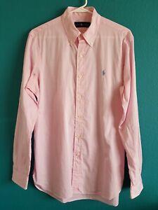 RALPH LAUREN Men's Dress Shirt Size 15.5  Pink Long Sleeves  Button Down  Size L