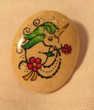 VINTAGE TINY HAND PAINTED PORCELAIN UNICORN TIE TACK or LAPEL PIN AMAZING DETAIL