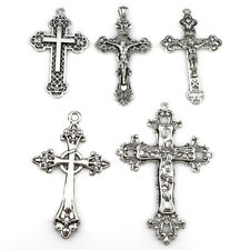 5PCS Vintage Silver Alloy Big Jesus Cross Pendant Religious Faith Charms 22398