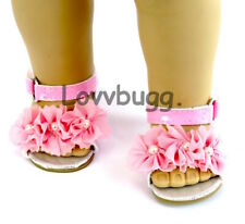 """Pink Flowers & Pearls Sandals for American Girl 18"""" Doll Dress Shoes Go Lovvbugg"""