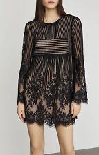 NWT BCBG MAX AZRIA Luann Floral Lace Dress Sz MEDIUM Black