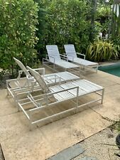 Set of Four Vintage Modern White Chaise Lounge Pool Chairs