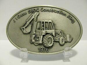 *Case Construction King 580C Loader Backhoe Tractor Pewter Belt Buckle 1976