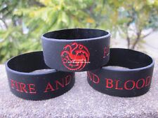 Game Of Thrones Fire And Blood 3 Headed Dragon Logo Silicone Bracelet Wristband