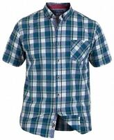 D555 Men's Henry Regular Short Sleeve Check Shirt