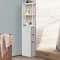 HOMCOM Bathroom Storage Cupboard Thin Cabinet Unit Shelf White w/ Drawers