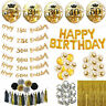 "10PCS 12"" Gold Sequin Number Happy Birthday Anniversary Balloons Party Decor Hot"