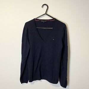 Ladies Tommy Hilfiger Navy Thin Knit Jumper Size Small