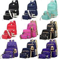 3pcs Set Casual Canvas Girls Backpack Shoulder Bag Rucksack College School Bags