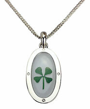 Celtic Lucky Real Four Leaf Clover Oval Pendant with Certificate & Gift Box