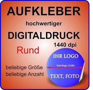 10 gleiche Stück Werbe Aufkleber nach Wunsch Ihr Foto Logo WEISS GLANZ RUND 80mm