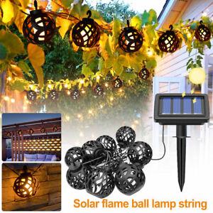 LED Solar Rattan Flame Effect String Hanging Light Garden Lantern Patio Outdoor