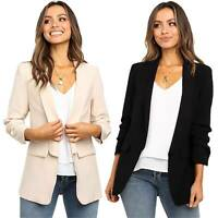 Women Slim Fit Blazer Casual OL Work Jacket Ladies Long Sleeve Outwear Suit Coat
