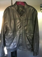 "Vintage - Black Soft Leather Bomber Style Jacket - St Michaels - 38-40"" Chest"