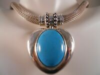 HEAVY ESPOSITO 925 STERLING SILVER HEART TURQUOISE PENDANT BYZANTINE NECKLACE