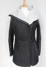 Muubaa Surin Black & White Leather & Shearling Coat UK 10