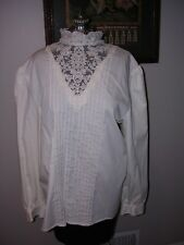 #426 Womens Victorian Teacher Gibson Girl White Cotton High Lace Collar Blouse L