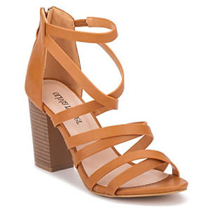 Olivia Miller Ankle Strap Back Zip Strappy Open Toe Cognac Brown Women's US 11M