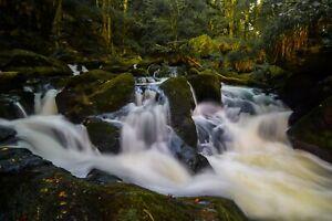 Wooden Canvas Photo Print | Cornwall Nature Waterfall 60x40 + Free Hanging Kit