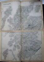 Scotland Orkney Shetland 1844 huge 2 sheet antique Black Hughes Hall map