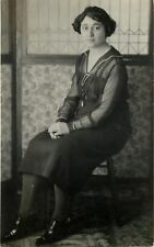 Vintage Real Photo Postcard~Young Lady~Sheer Sleeve Dress~Granny Shoes~1920 RPPC