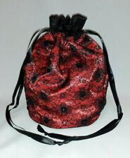 Red Satin with Black Lace and Sequins Drawstring Dolly Bag Evening Prom
