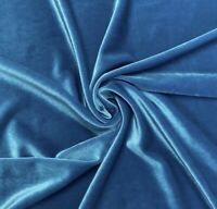 "Turquoise  2way stretch velvet fabric 60"" Width Sold By The Yard"