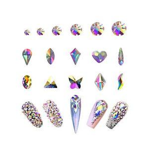 AB Crystal Rhinestones Set 100+1728 Pcs, Round and Multishape AB Glass Rhines...