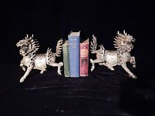 Antique Chinese Silvered Bronze Kylin Statue's or Bookends