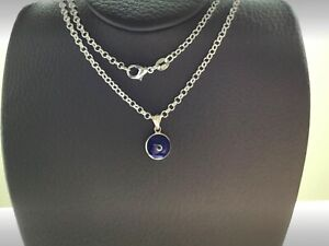925 STERLING SILVER DOUBLE SIDED GREEK EVIL EYE DARK BLUE PLATED NECKLACE+GIFT