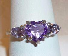 Heart Purple Amethyst & Pink Amethyst 925 Silver Ring Size 8 w Gift Box Sweet