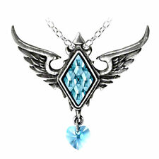 Alchemy Gothic Pewter Ice Queen Frozen Heart Blue Diamond Crystal Pendant Neckla