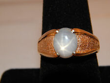 Vintage 2.50 ct Natural Light Blue Star Sapphire Solitaire 14k Yellow Gold Ring