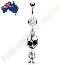 316L Surgical Steel Belly Navel Ring with Cubic Zirconia Gem & Alien Dangle
