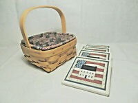 Longaberger Tarragon Basket with Protector U.S. Flag Liner 4 Americana Coasters