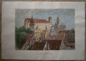 1878 Reclus print CASTLE IN NUREMBERG NÜRNBERG, BAVARIA, GERMANY (#40)