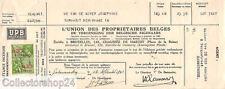 Belgie cheque U.P.B Bruxelles verzekering whit stamp 1941