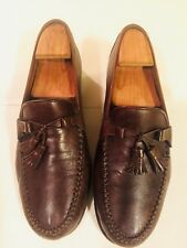 ALLEN EDMONDS Brown Leather URBINO TASSEL SLIP ON LOAFERS Made In Italy 8.5 D