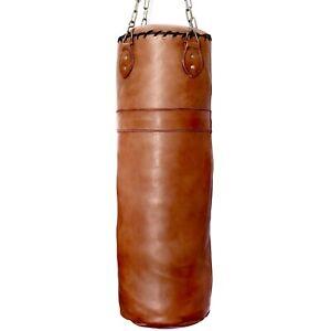 Boxsack Echtleder handgemacht Retro Vintage Punching Bag Sandsack MMA Kickboxen