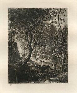 Samuel Palmer original etching - Sunset printed in 1880