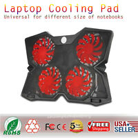 """Laptop Cooling Pad 12""""-17"""" Cooler Pad Chill Mat 4 Quiet Fans with LED Light"""