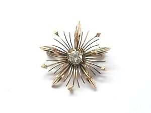 Fine Old European Diamond Vintage Pin / Brooch ROSE GOLD .35CT