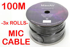 3x Shielded Pro Microphone Mic Cable Wire Lead Reel Roll 100m 2 Core 100 Metre