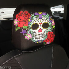CAR SEAT HEAD REST COVERS 2 PACK CANDY SKULL GREEN DESIGN MADE IN YORKSHIRE