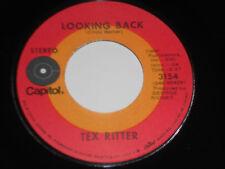 """TEX RITTER NM- Looking Back 45 Fall Away 3154 Capitol 7"""" vinyl"""