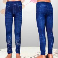 Design Mädchen Leggings Jeggings Stretch Hose Jeans Look  Gr. 140-146