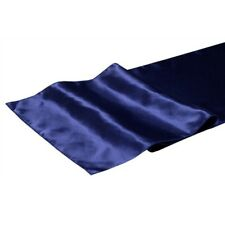 BLUE RIBBON Dark Navy Shining Satin Fabric Table Runner Wedding Party Chair Sash